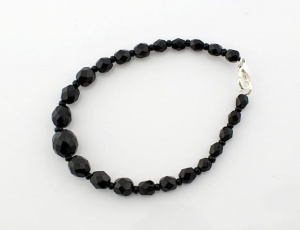 Bracelet black grinded/graded 5 mm