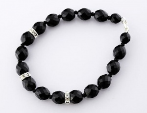 Bracelet black grinded with ornament 12 mm