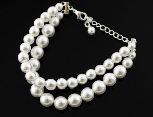 Bracelet pearl double 8/10 mm