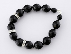 Bracelet black grinded with ornament 14 mm